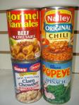 Nalley chili Original - Hormel Beef Chili Sauce - Popeye Spinach - Clam Chowder